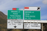 Junction for Andorra & Toulouse by Tunnel, or by mountain pass (Col)