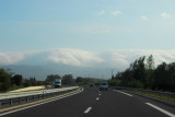 Low clouds engulfing the Pyrenees near Perpignan, A9