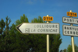 Turnoff for Collioure, a nice town on the Vermillion Coast of France