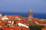 Rooftops of Collioure, tower of Notre Dame des Anges, Mediterranean Sea, Collioure