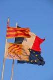 Flags of France, EU, Catalonia, Conseil Général Pyrénées Orientales