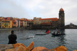 Water obstacle course set up in the harbor of Collioure for the French soldiers