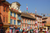 Buildings encircling the stupa at Bodhnath (Boudha)
