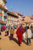 Walking clockwise around the stupa