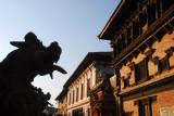 Bronze lion opposite the 55 Window Palace, Durbar Square, Bhaktapur