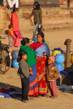 Women and children at the morning market, Taumadhi Tole, Bhaktaur