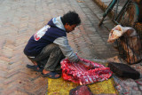 Sidewalk butcher at work, Bhaktapur