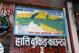 Royal crossed out of the map of Chitwan National Park, Sauraha