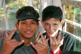 Schoolboys from the Terai on their bus to Bandipur