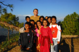 Me, with a group of Nepali kids, Gurungche Hill, Bandipur