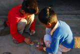 Nepali boys playing some kind of card game, Bandipur