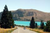 On the road descending to Lake Tekapo