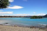 Looking towards Lake Tekapo village on the southern shore