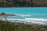 Bright blue water of Lake Tekapo, glacial flour