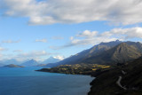 Driving northwest along Lake Wakatipu from Queenstown to Glenorchy