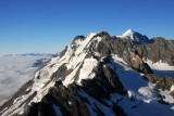 Summit of Mount Tasman comes into view on right