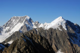 Clear view of the summit of Mt Cook, left, and Mt Tasman