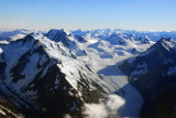 Tasman Glacier on the eastern slope of the Southern Alps