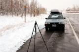 Joe Tripod on a wet road in the snow, somewhere in Utah