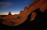 Delicate Arch's moonlight shadow in the basin