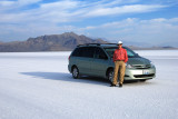 On the Bonneville Salt Flats, ready to set a new world land speed record