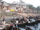 tiny boats waiting at Sadarghat