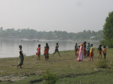 Kids playing by the river