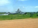 Crashed airplanes at Geneina - a common sight in all of Sudan's airports