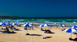 Manly beach with umbrellas