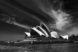 Sydney Opera House with good sky landscape monochrome version