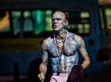 Tattooed busker