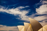 Sails of Sydney Opera House with cirrus clouds