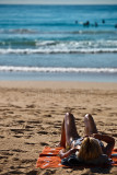 Sunbaking on Manly Beach