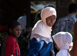 Moslem female in hijab and children