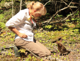 Julie with a bold Ruffed Grouse