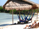 Snoozing in the hammocks after a long day snorkling
