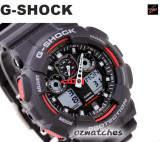 CASIO G-SHOCK MAGNETIC RESISTANT GA-100 GA-100-1A4 BLACK RED