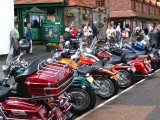 Harley Davidson boys in town.Lynmouth.