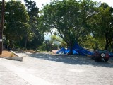 a few tents set up (or tarps just as sun shields