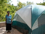 Elyse and her new house (tent)