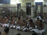 11-Evening goshti-from left first row: Sri Manavalan Svami, Sri Lakshmi Nrusimhan (sekhar) svami, Sri PArthasarathy svami et al