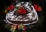 Passover flourless chocolate cake with strawberries