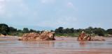 Rocks visible during the dry season