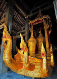 Naga heads on the royal funerary carriage,  Wat Chieng Thong, Luang Prabang