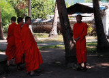 Monks in the Wat Chieng Thong courtyard, Luang Prabang
