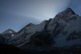 Sun rising behind Nuptse (7861m, 25,791ft)