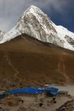 Pumori above Gorak Shep (5184m, 17,008ft), with Kala Patthar in mid distance