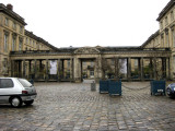 The colonnade entrance of the chateau
