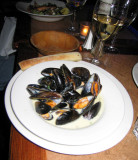 My dinner of mussels with a cream sauce