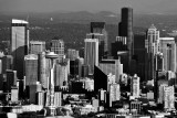 Space Needle and Seattle in black-white